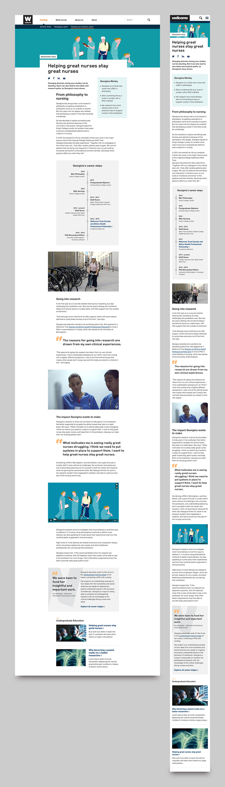 Responsive design for The Wellcome Trust