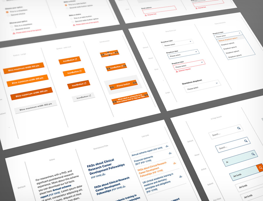 Responsive UI toolkit design for The Wellcome Trust